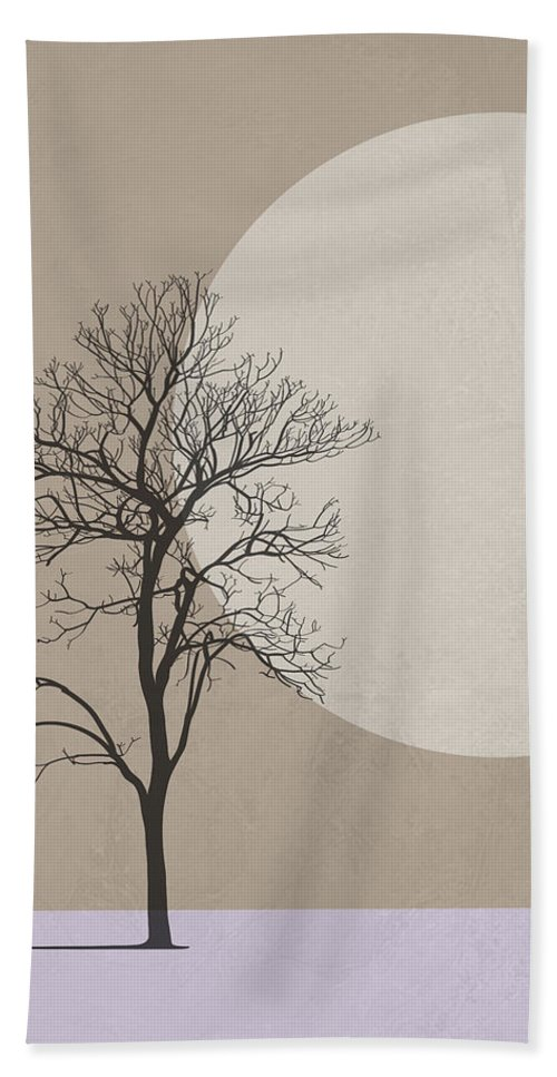 Tree Beach Towel featuring the mixed media Winter Morning Tree by Naxart Studio