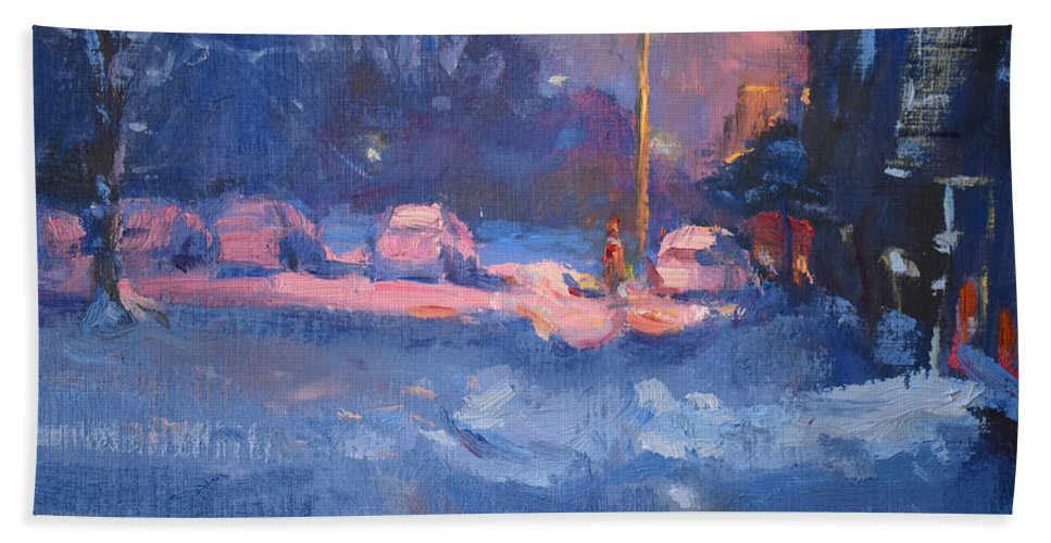 Snow Beach Towel featuring the painting Winter Nocturne by Ylli Haruni