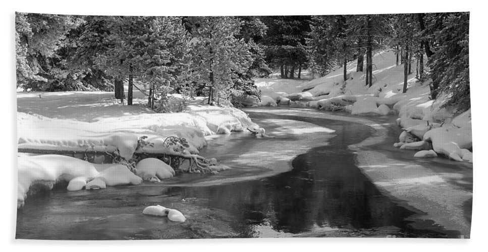 Winter On The Firehole River Yellowstone National Park Beach Sheet
