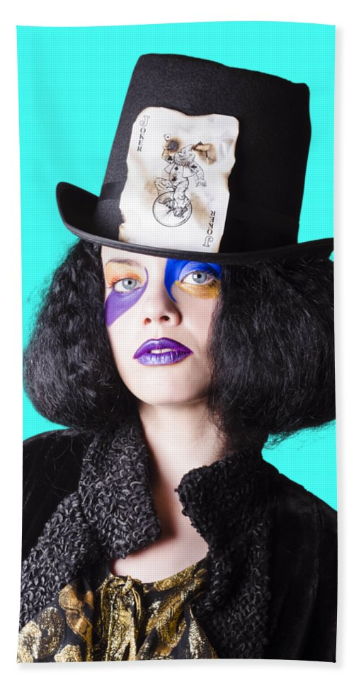 Make-up Beach Sheet featuring the photograph Woman In Joker Costume by Jorgo Photography - Wall Art Gallery