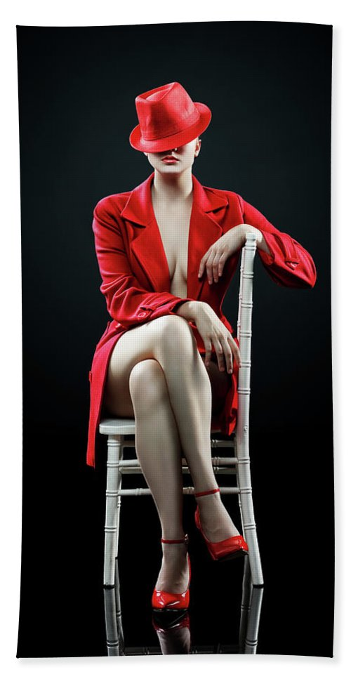 Woman Beach Towel featuring the photograph Woman in red by Johan Swanepoel