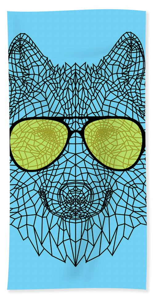 Wolf Beach Towel featuring the digital art Woolf In Yellow Glasses by Naxart Studio