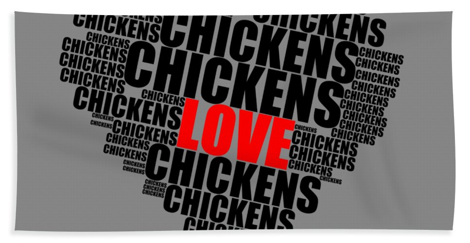 Word Cloud Love Chickens Black And Red Letters Beach Towel featuring the digital art Wordcloud Love Chickens Black by Sigrid Van Dort