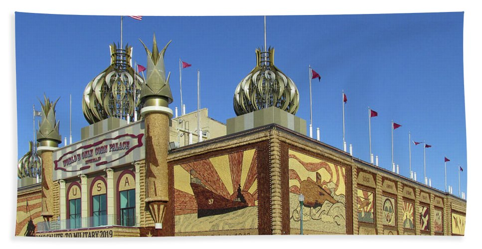 Corn Palace Beach Towel featuring the photograph Worlds Only Corn Palace 2018-19 by Richard Stedman