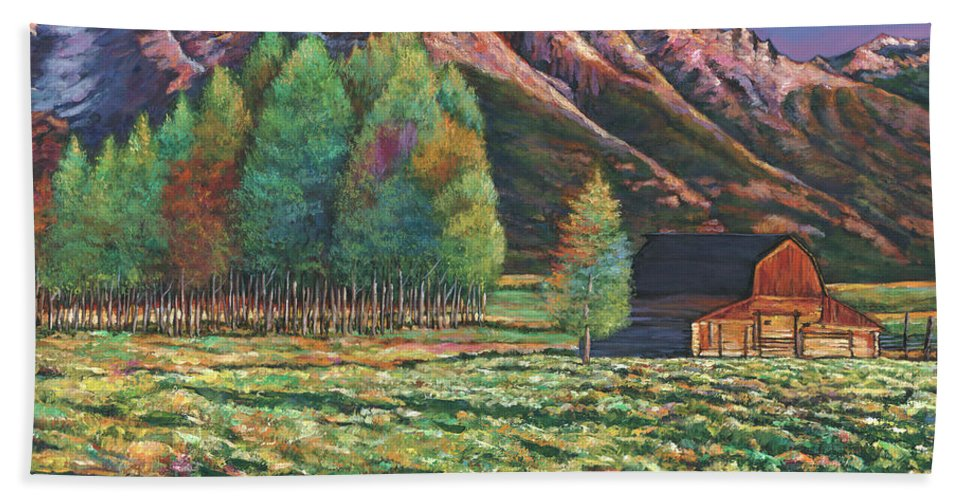 Landscape Art Beach Towel featuring the painting Wyoming by Johnathan Harris