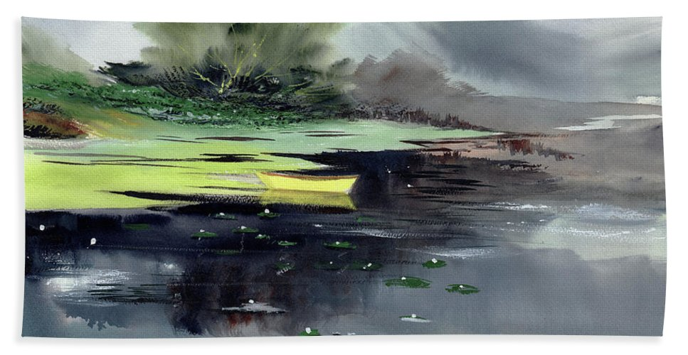 Nature Beach Towel featuring the painting Yellow Boat by Anil Nene