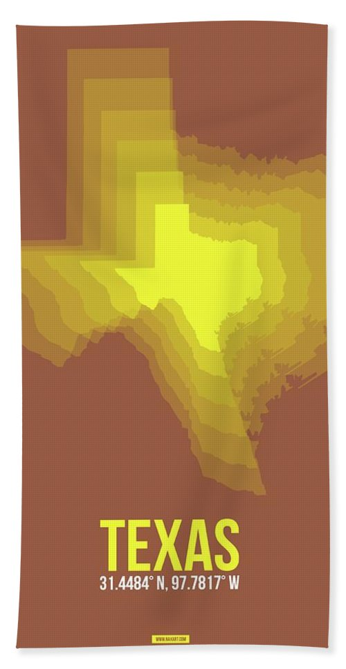 Texas Beach Towel featuring the photograph Yellow Map Of Texas by Naxart Studio