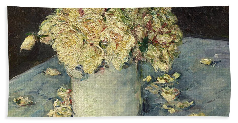 Gustave Caillebotte Beach Towel featuring the painting Yellow Roses In A Vase by Gustave Caillebotte