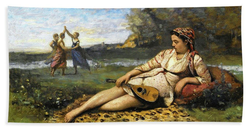Ukulele Beach Sheet featuring the painting Young Women Of Sparta - Digital Remastered Edition by Jean-Baptiste Camille Corot