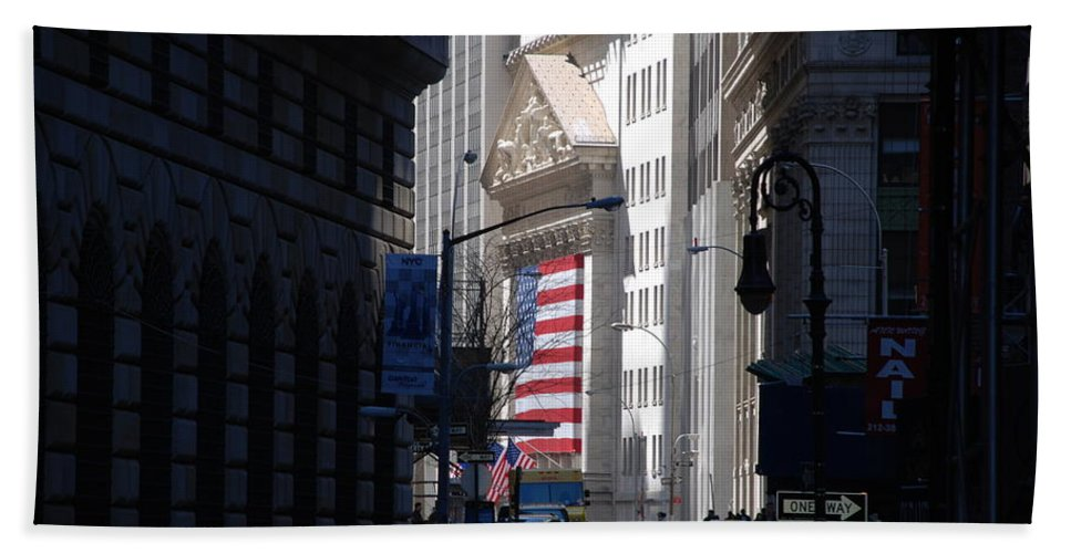 Wall Street Beach Towel featuring the photograph Rise And Fall Of America Avenue by Rob Hans