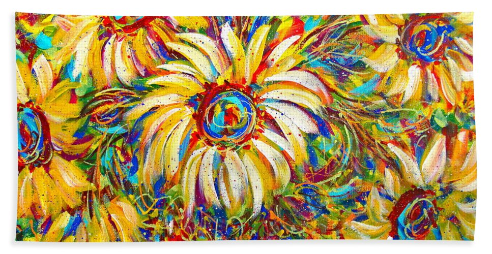 Flowers Beach Towel featuring the painting Sunflower Burst by Natalie Holland