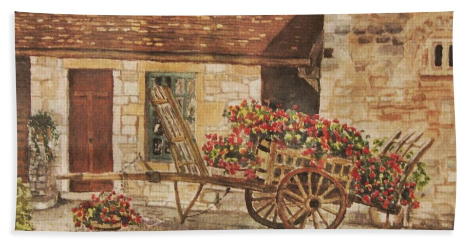 Rustic Beach Towel featuring the painting Vougeot by Mary Ellen Mueller Legault