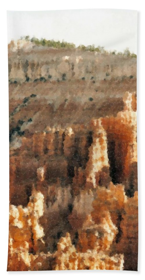 Bryce Canyon Beach Towel featuring the mixed media Bryce Canyon by Asbjorn Lonvig