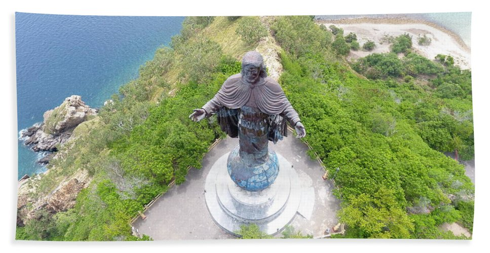Travel Beach Towel featuring the photograph Cristo Rei of Dili statue of Jesus by Brthrjhn2099