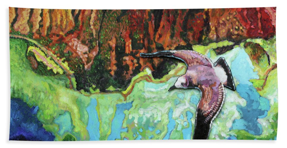 Sea Gull Beach Towel featuring the painting Flying High by John Lautermilch
