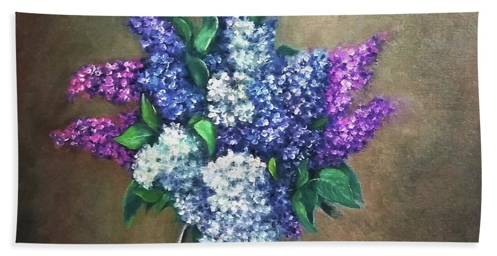 Lilac Beach Towel featuring the painting Lilac flowers by Natalja Picugina