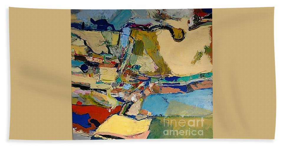 Landscape Beach Towel featuring the painting Pastime Drive by Allan P Friedlander