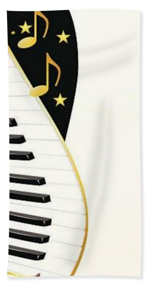 Piano Beach Towel featuring the digital art Piano by Mopssy Stopsy