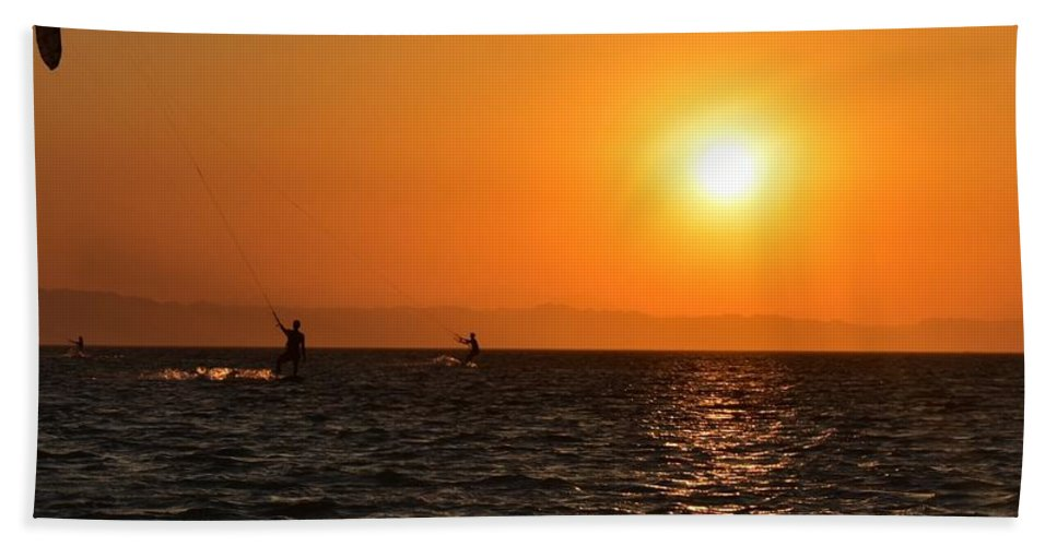 Kitesurfing Beach Towel featuring the photograph Red sea sunset by Luca Lautenschlaeger