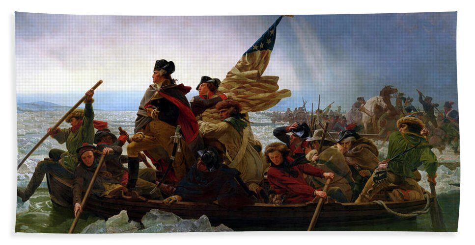 George Washington Beach Towel featuring the painting Washington Crossing the Delaware by Emanuel Leutze
