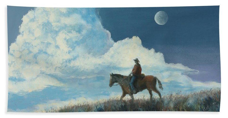 Cowboy Beach Towel featuring the painting Rider Against the Sky by Jerry McElroy