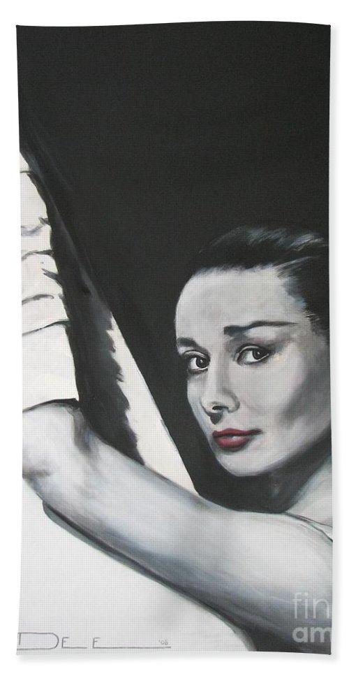 Audrey Hepburn Beach Towel featuring the painting Audrey Hepburn by Eric Dee