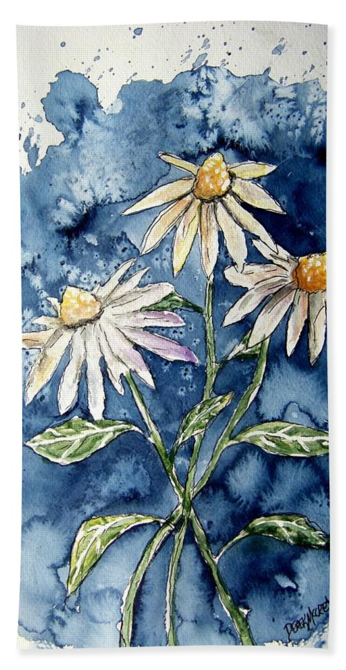 Daisy Beach Towel featuring the painting 3 Daisies Flower Art by Derek Mccrea
