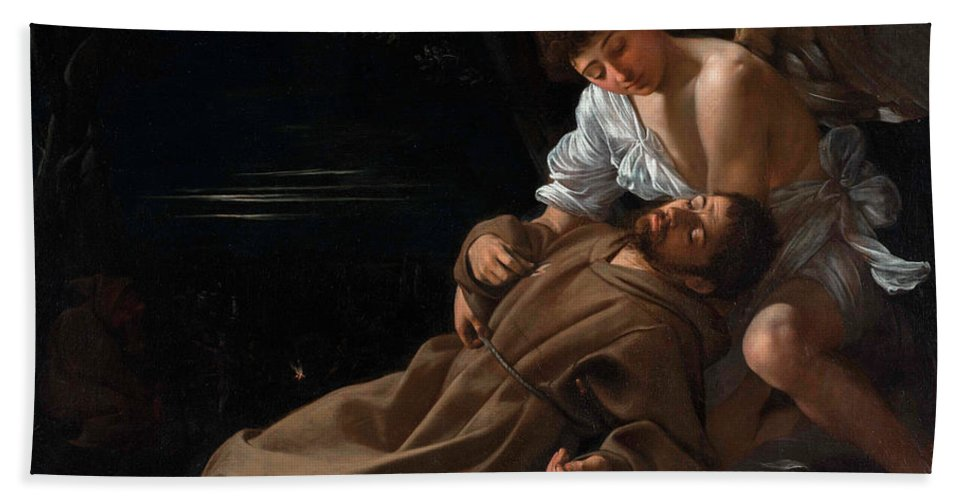 Caravaggio Beach Towel featuring the painting Saint Francis of Assisi in Ecstasy by Caravaggio