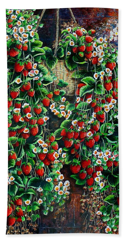 Fruit Painting Strawberry Painting Red Floral Painting Hanging Strawberry Basket Painting Botanical Painting Fruit Painting Beach Towel featuring the painting A Berry Sweet Basket by Karin Dawn Kelshall- Best