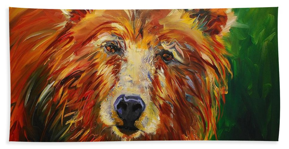 Bear Beach Towel featuring the painting A Bunch Of Bear by Diane Whitehead