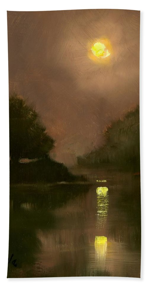 Miniatures Beach Towel featuring the painting A Clear Evening by Jim Gola
