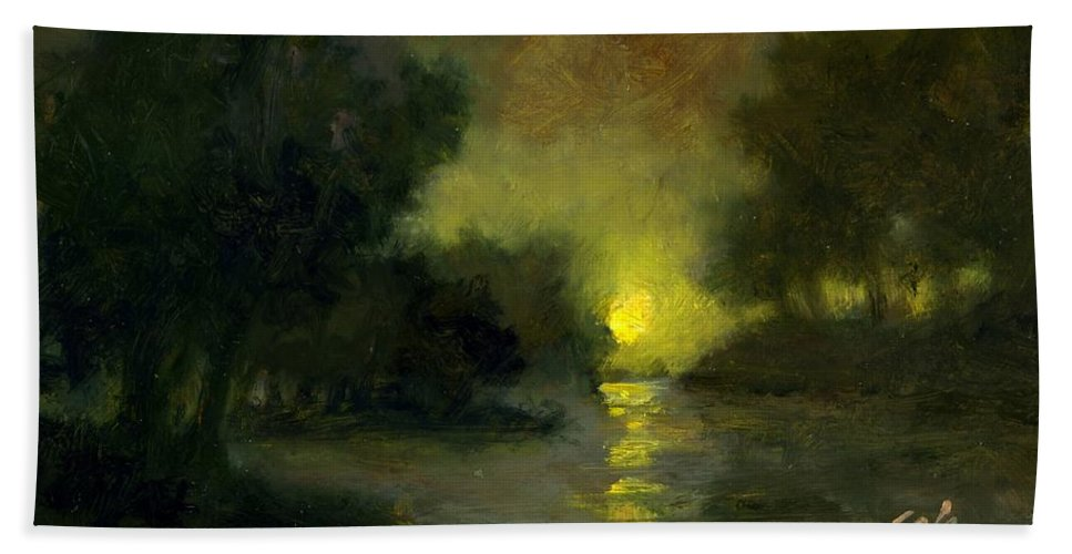 Miniaturesoil Paintings Beach Towel featuring the painting A Dusky Evening by Jim Gola