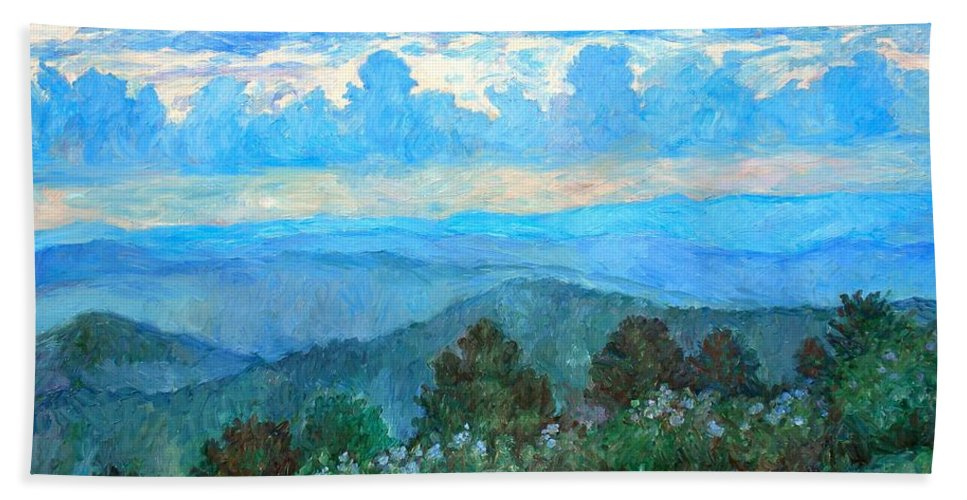 Landscape Beach Towel featuring the painting A Path to Rock Castle Gorge in the Evening by Kendall Kessler