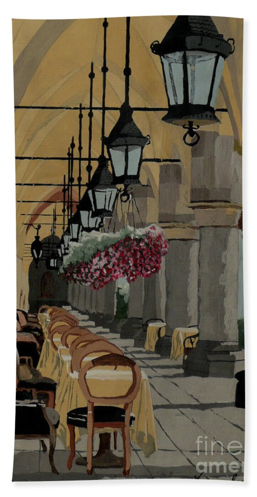 Cafe Beach Towel featuring the painting A Place in the Shade by Anthony Dunphy