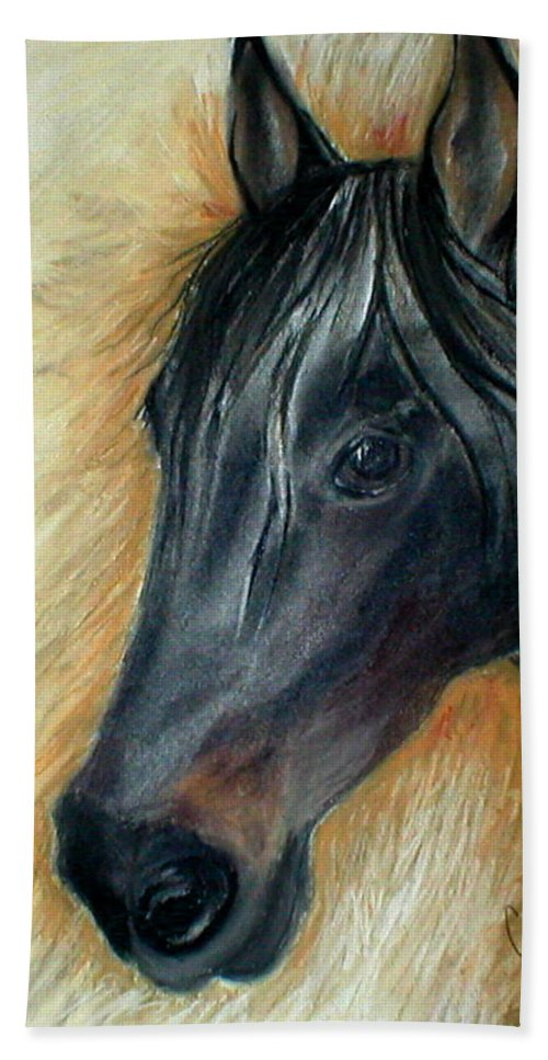Horse Beach Towel featuring the drawing A Stable Friend by Cori Solomon