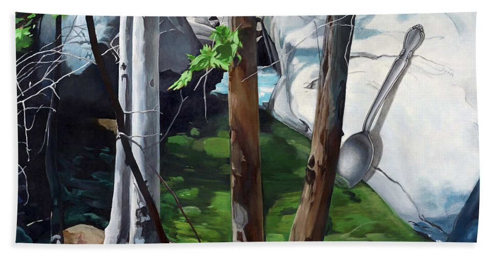 Landscape Beach Towel featuring the painting A Taste of Nature by Snake Jagger