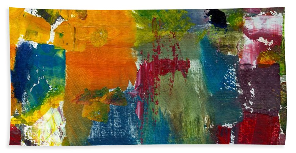Abstract Collage Beach Towel featuring the painting Abstract Color Relationships ll by Michelle Calkins