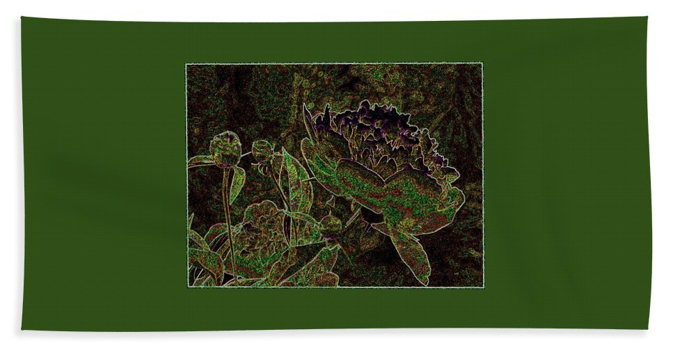 Peony Beach Towel featuring the mixed media Abstract Peony And Buds by Will Borden