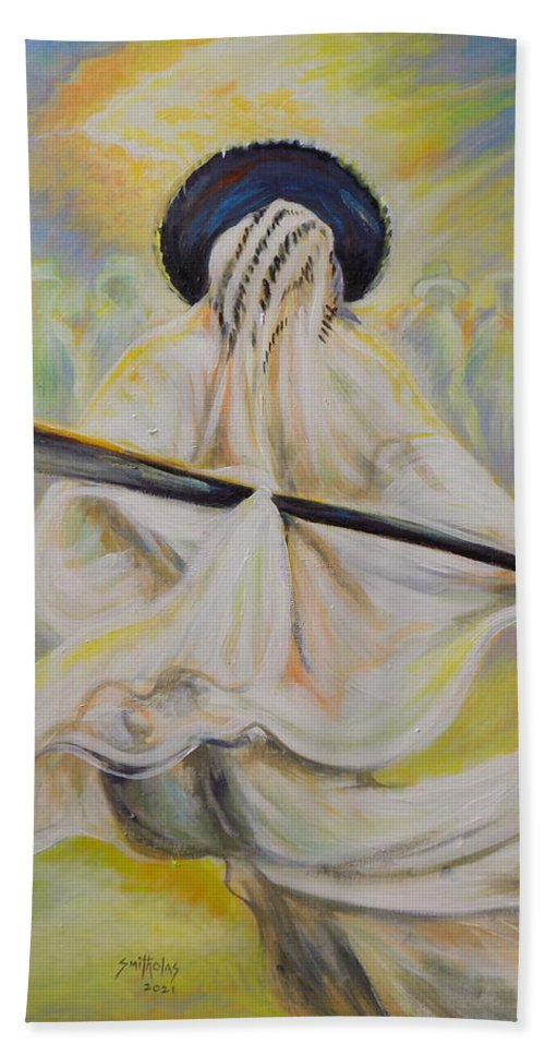 Living Room Beach Towel featuring the painting Adamu Orisa Eyo by Olaoluwa Smith