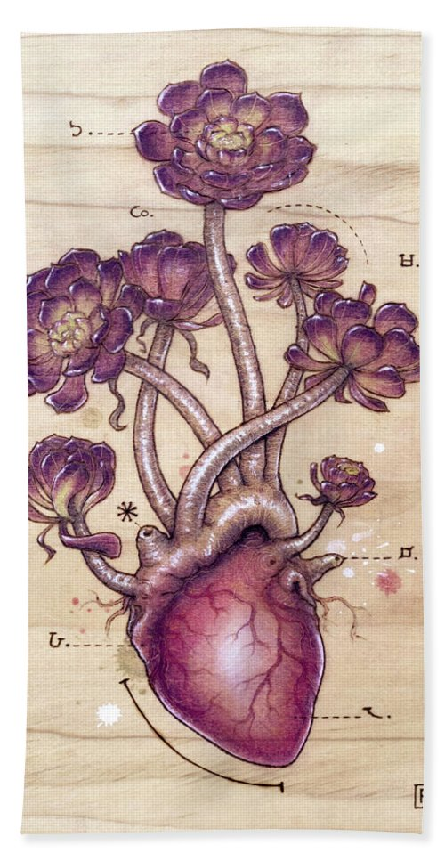 Pyrography Beach Towel featuring the pyrography Aeonium Heart by Fay Helfer