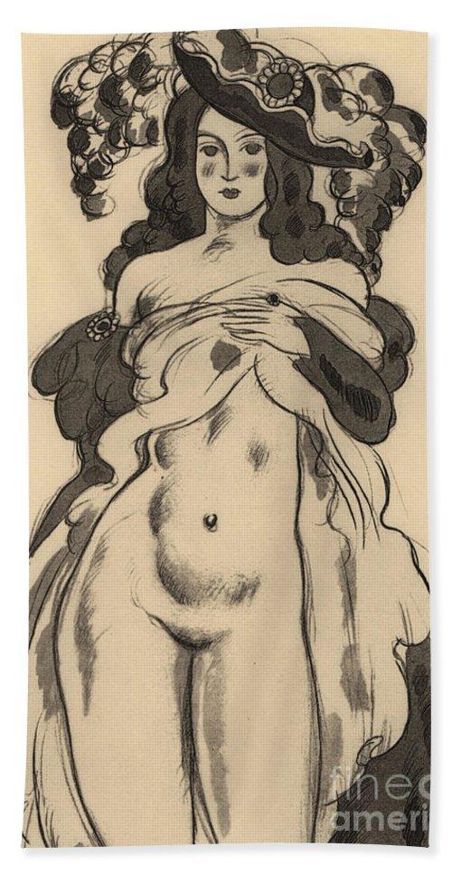 Alaciel Lifting Her Dress Beach Towel featuring the painting Alaciel Lifting Her Dress by Charles Martin