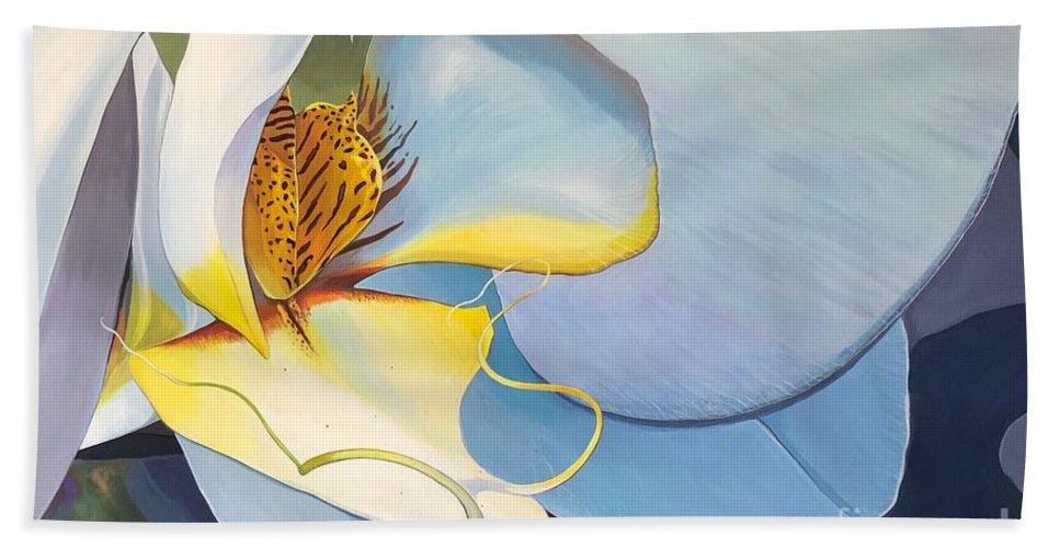 Orchid Beach Towel featuring the painting All You Need is Now by Hunter Jay