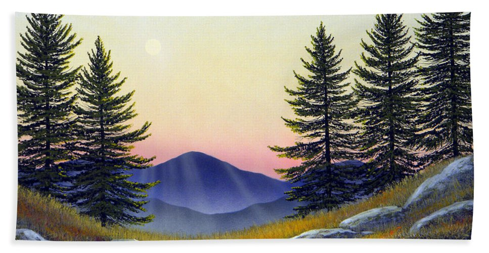 Landscape Beach Towel featuring the painting Alpine Meadow by Frank Wilson