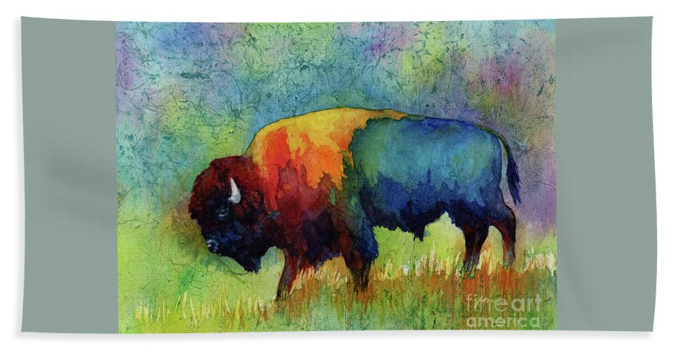 Bison Beach Towel featuring the painting American Buffalo III by Hailey E Herrera