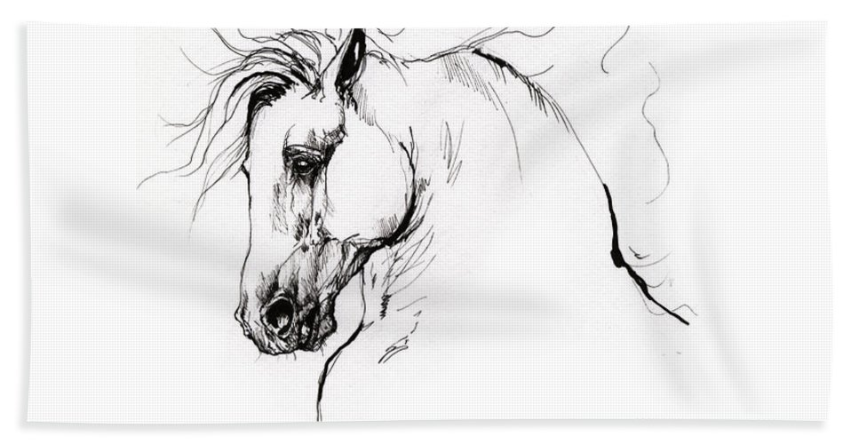 Horse Beach Towel featuring the drawing Andalusian horse drawing 1 by Angel Ciesniarska