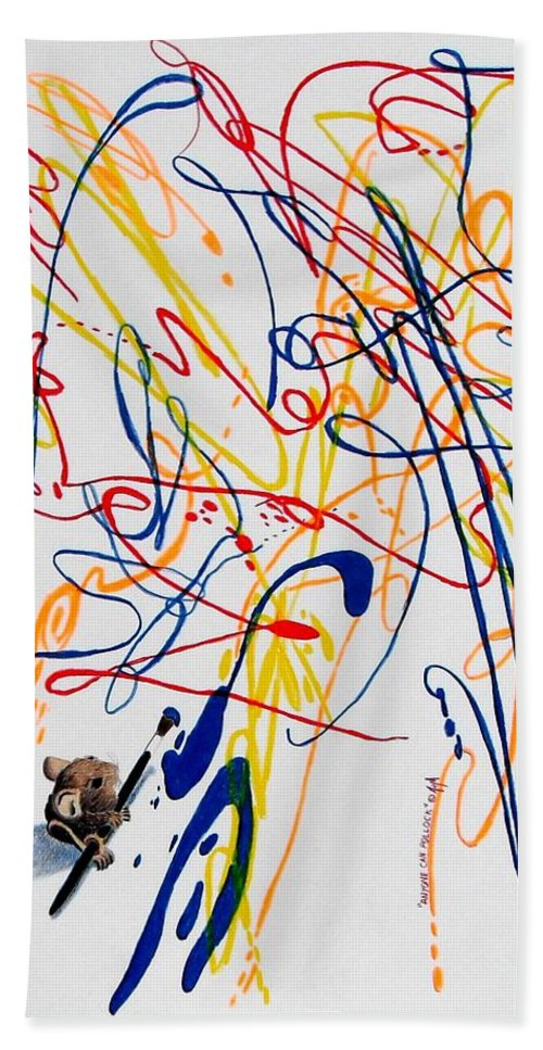 Mouse Beach Towel featuring the painting Anyone Can Pollock by A Robert Malcom