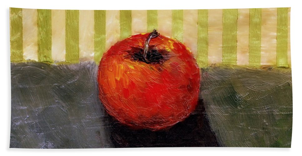 Apple Beach Towel featuring the painting Apple Still Life with Grey and Olive by Michelle Calkins