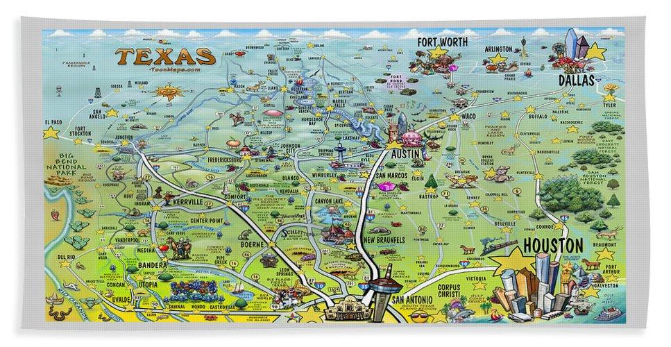 Texas Beach Towel featuring the digital art Texas Big Fun Map by Kevin Middleton