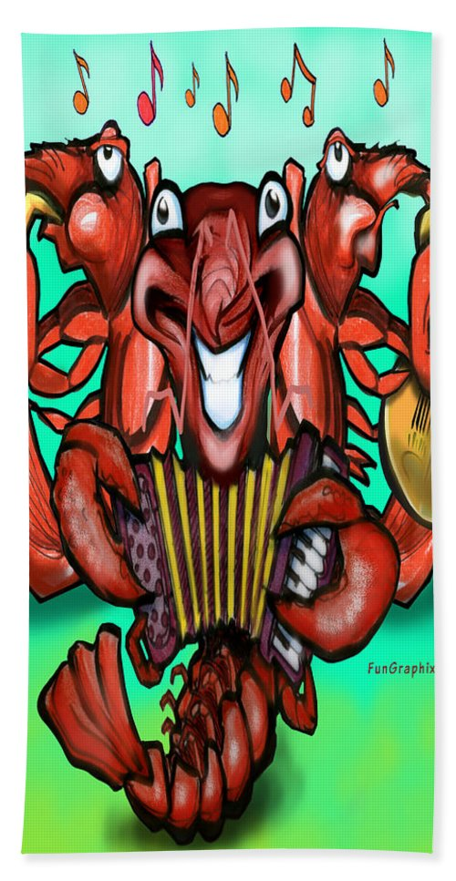 Crawfish Beach Towel featuring the digital art Crawfish Band by Kevin Middleton