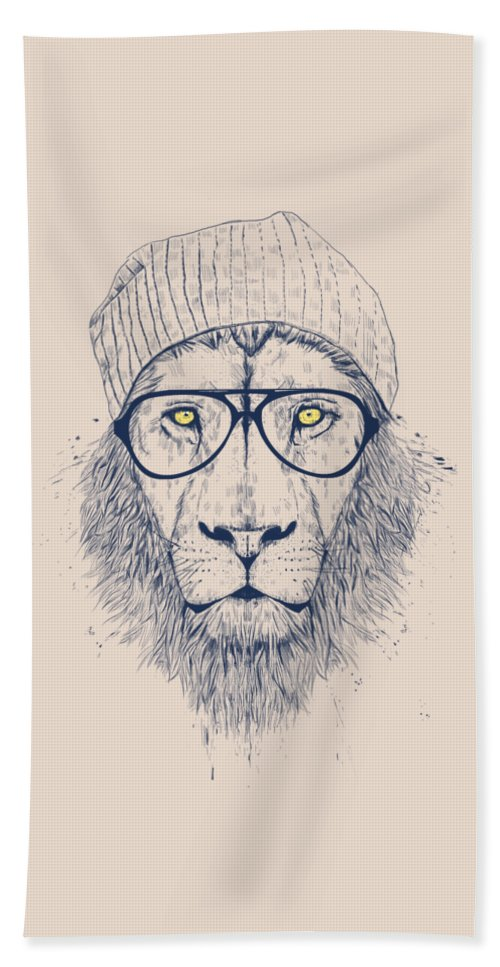 Lion Beach Towel featuring the drawing Cool lion by Balazs Solti